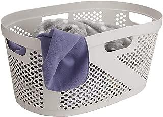Mind Reader HHAMP40-IVO, Laundry, Storage, Bathroom, Bedroom, Home, Ivory 40 Liter Closed Basket