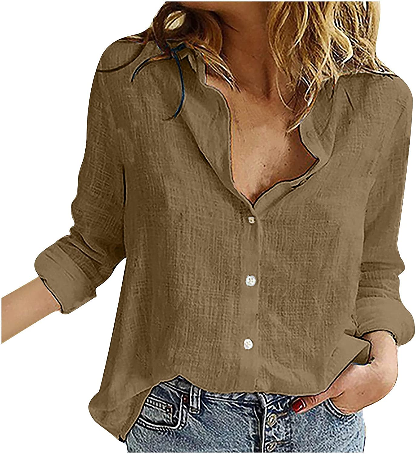Hesxuno Womens Summer Casual Long Sleeve Button Down Shirts Trendy Solid Color Work Office Business Loose Fit Tops Blouse
