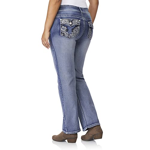 72647e48 WallFlower Women's Plus-Size Embellished Pocket Luscious Curvy Bootcut Jeans