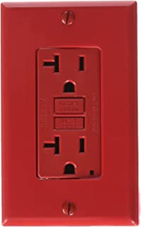 Leviton GFNT2-R Self-Test SmartlockPro Slim GFCI Non-Tamper-Resistant Receptacle with LED Indicator, 20 Amp, Red