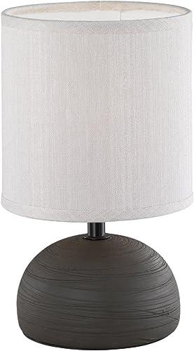 Reality, Lampe de table, Luci 1xE14, max.40,0 W Tissu, Cappucino, Corps: Céramique, Brun Ø:14,0cm, H:23,0cm IP20,Inte...