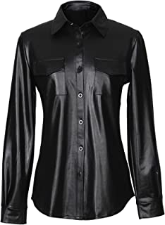 Arctic Cubic Sexy Steampunk Punk Style Long Sleeve PU Faux Leather Pocket Button Front Curved Hem Blouse Shirt Top