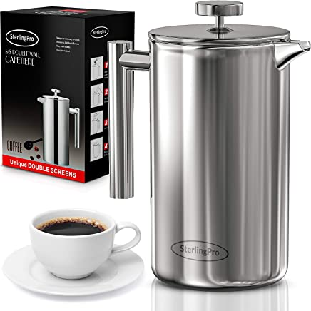 French Press Coffee Maker(1.75L) - Double Walled 18/10 Large Coffee Press with 2 Free Filters - Enjoy Granule-Free Coffee Guaranteed, Stylish Rust Free Kitchen Accessory - Stainless Steel French Press