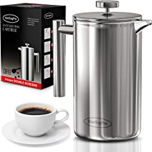 SterlingPro French Press Coffee Maker (1L)-Double Walled Large Coffee Press with 2 Free Filters-Enjoy Granule-Free Coffee ...