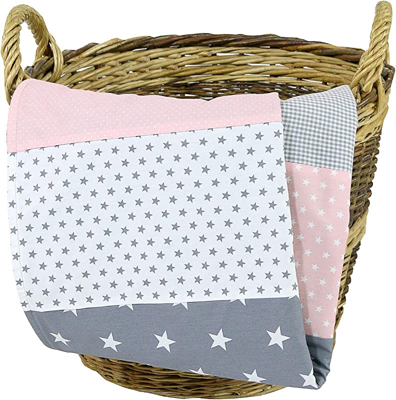Soft Cotton Baby Blanket By ULLENBOOM Star Checkered Patchwork Design 27 X 39 Girls Pink Grey Color