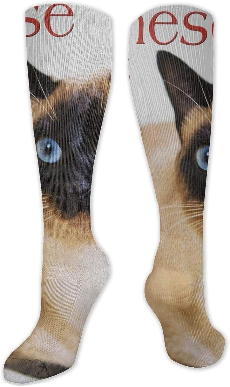 White Siamese Cat Knee High Socks Leg Warmer Dresses Long Boot Stockings For Womens Cosplay Daily Wear