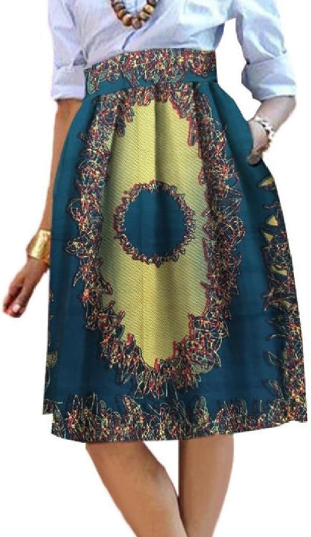 Beeatree Women With Pocket Highwaist Africa Dashiki Mini Simple A Line Skirts