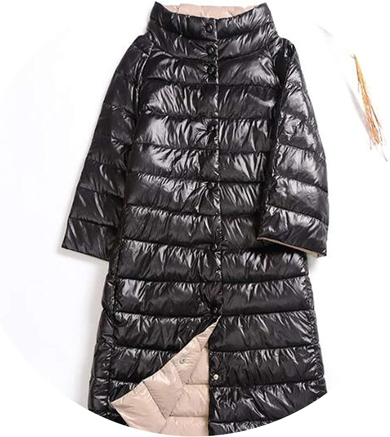 Winter Down Coats Medium Long Down Jacket Fashion Thin White Duck Down Jacket Outerwear