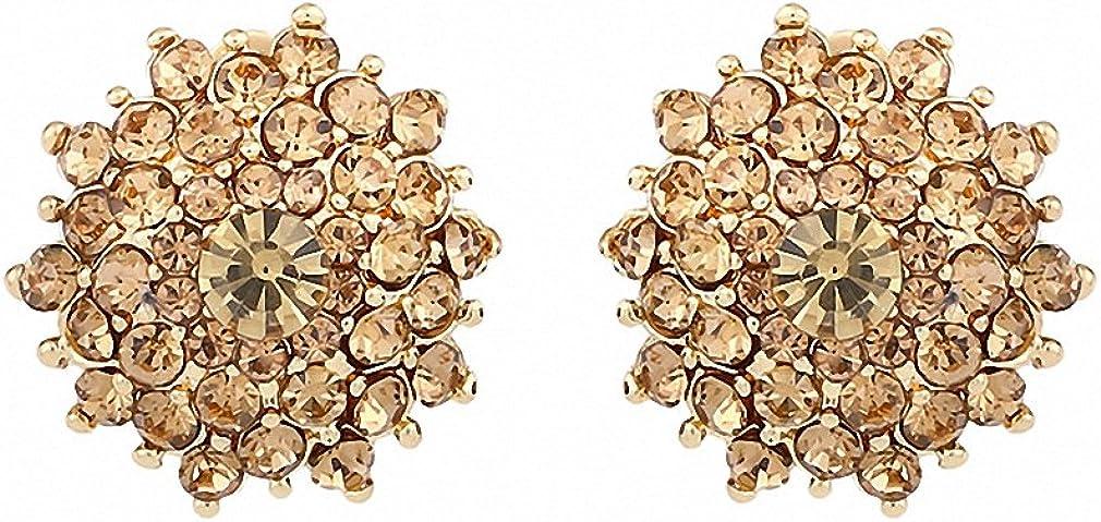 Womens Girls Ear Clip Earrings Kids Round Clip-On Earrings Gold Crystal Flower Earrings Clip Ears Rhinestones