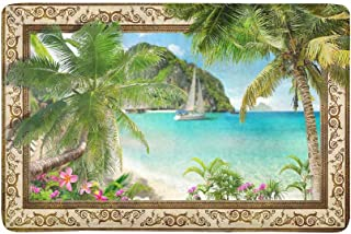 InterestPrint Frame with Tropical Palm Trees Sailboat and Pulmeria Flowers Doormat Anti-Slip Entrance Mat Floor Rug Indoo...