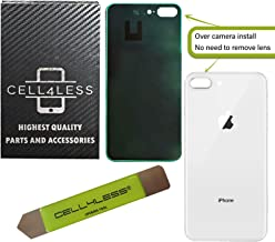 CELL4LESS Back Glass Replacement Compatible w/The iPhone 8 Plus Including Wide Camera Hole, Adhesive & Removal Tool (Silver)