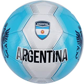 Machine Stitch Soccer Ball with Argentina Country Name Size: 5 (Light Blue)