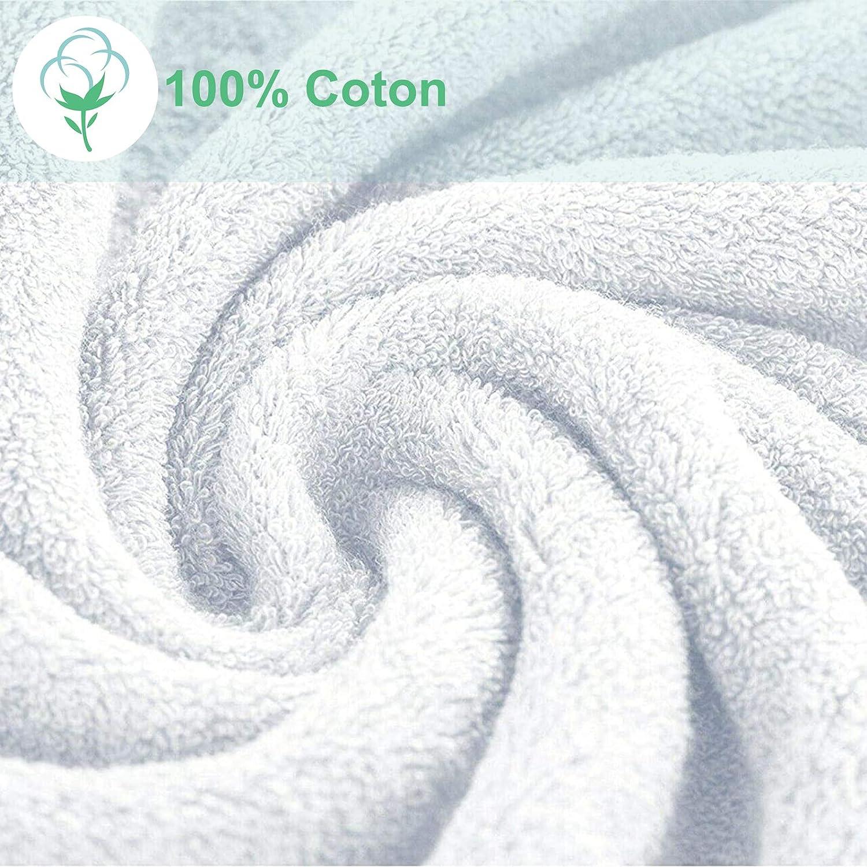 Sunshine Linens Juego de toallas de 10 piezas 4 toallas de mano y 2 toallas de ba/ño 100/% algod/ón egipcio de lujo s/úper suave y altamente absorbente 4 toallas de cara blanco