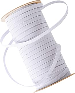 "TICONN 100 Yards 1/4"" Elastic Band, Elastico Braided Stretch Strap Cord Roll for Sewing and Crafting"