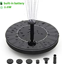Solar Fountain, Solar Water Fountain for Bird Bath with Battery Backup, 10V 2W, Newest Solar Panel Fountain Pumps Submersible Outdoor, for Birdbath, Small Pond, Swimming Pool, Garden, Patio and Lawn