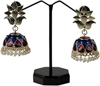 Handmade painting jewellry in beautiful color combination of Red and Blue in shine, with the golden base and hanging pearls