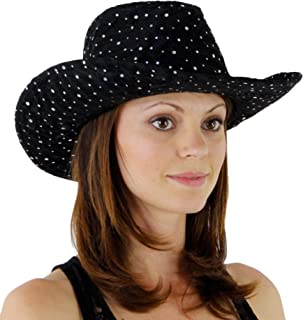 Greatlookz Fashion Glitter Sequin Trim Cowboy Hat for Ladies