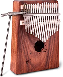 Kalimba 17 Keys Thumb Piano Solid Wood Finger Piano Musical Instrument with Study Instruction,Tuning Hammer,Gift for Kids Adult Beginners Professional without any musical basis(Dark Brown)