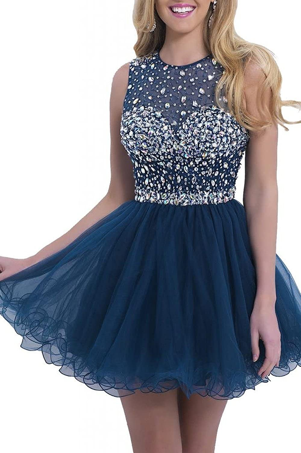 KARMA PROM Women's Short Tulle Beading Homecoming Dress Prom Gown