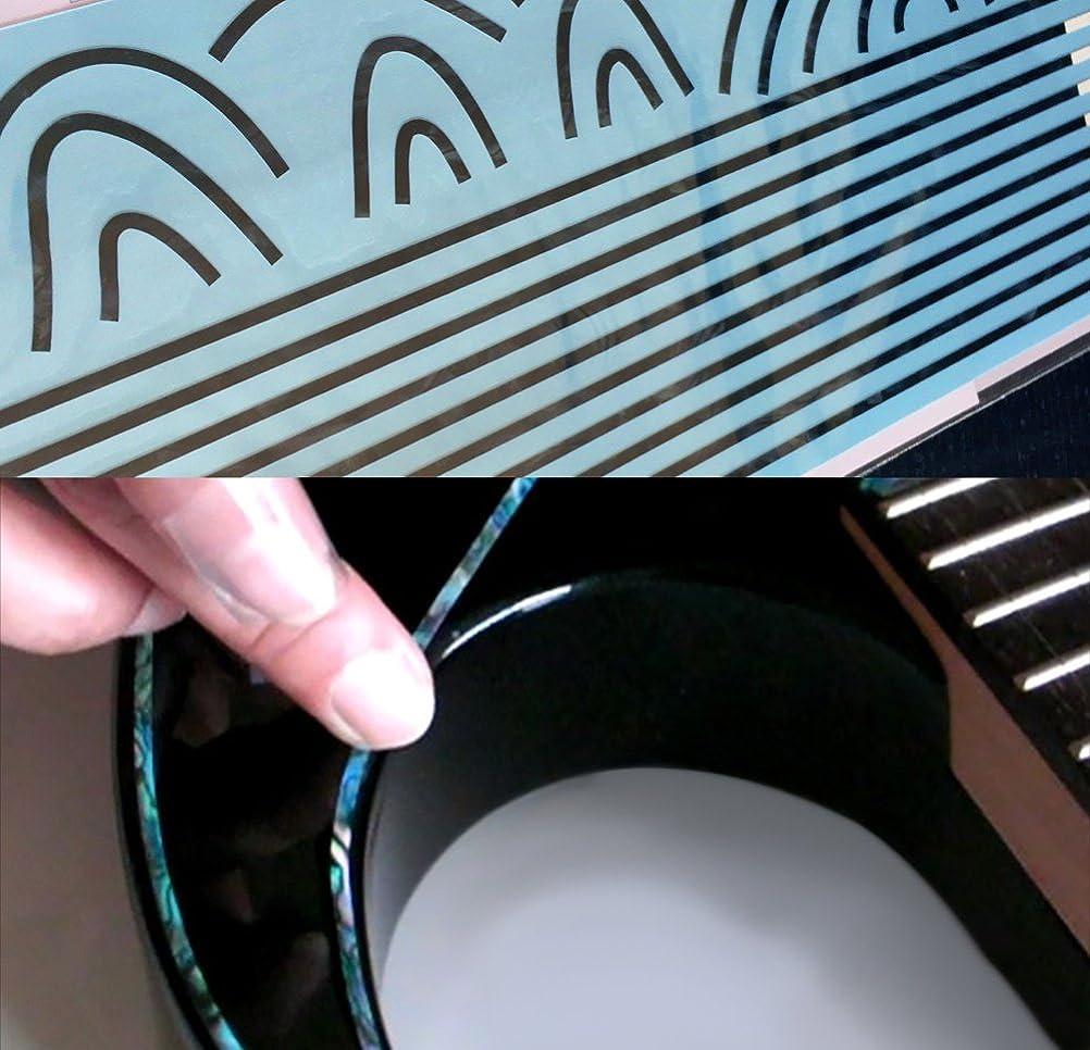 レトルト黒板神話ギターのボディ周りに伸縮素材 ビンディング?ステッカー ブラックパール 2mm幅