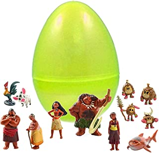 Coolinko 1 Toy Filled Jumbo Easter Egg with 12 Moana Figurines Inside - Find Your Favorite - Prefilled to Save You Time - Perfect for Disney Lovers - Durable Egg and Assortment of Moana Characters