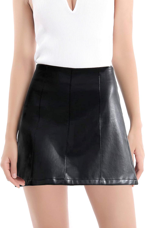 Women's High Waist Faux Leather Skirt Classic Slim Mini Skirt