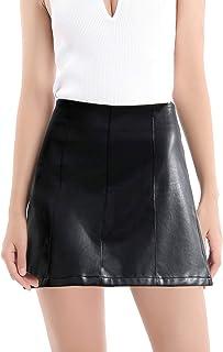 Falda clásica de piel sintética de cintura alta para mujer