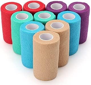 10 Pack Self Adherent Cohesive Wrap Bandage, 4