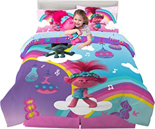 Franco Kids Bedding Super Soft Comforter with Sheets and Cuddle Pillow Bedroom Set, 6 Piece Full Size, Trolls World Tour