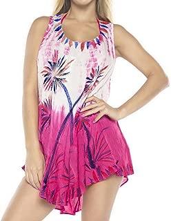 LA LEELA Everyday Essentials Caftan Tunic Tank Summer Beach Dress Swim Cover Up S
