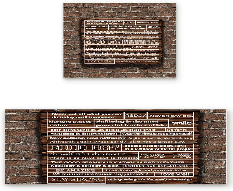 SODIKA 2 Pieces Kitchen Rug Set,Non-Skid Slip Washable Doormat Floor Runner Bathroom Area Rug Carpet,Inspirational Phrase on Wooden Board (19.7x31.5in+19.7x63 inches)