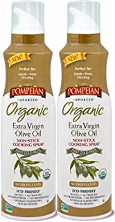 Pompeian Organic Extra Virgin Olive Oil Non-Stick Cooking Spray - No Propellants, Eco Friendly, 2 pack