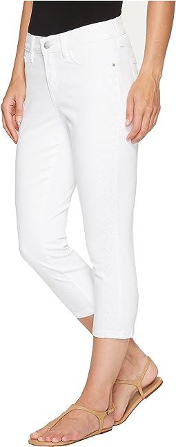 Alina Capris w/ Embroidery in Optic White