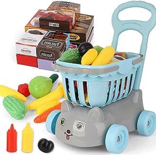 子供たちは家のおもちゃのショッピングカート、スーパーマーケットのミニトロリーを再生し、24のアクセサリを備えた赤ちゃんの早期教育食料品カートを再生するふりをし、子供のための理想的なギフト(青い)