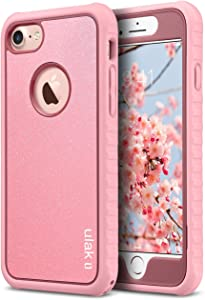 ULAK iPhone 8 & 7 Case, Shock-Absorbing Flexible Durability TPU Bumper Case, Durable Anti-Slip, Front and Back Hard PC Defensive Protection Cover for Apple iPhone 7 4.7 inch,Rose Gold Bling