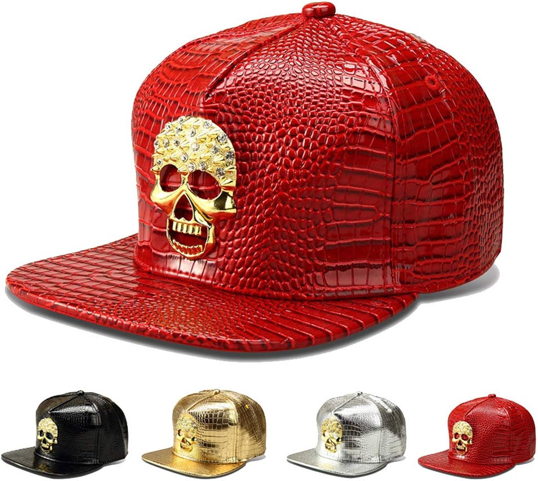Aoqngai Punk Hip Hop Caps Men Women PU Leather Flat Bone Snapback Baseball Caps