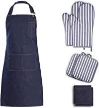 Tosewever 7Pcs Kitchen Apron and Oven Mitts Pot Holders Set for Women Men, Heat Resistant Oven Mitts with Kitchen Towels, ...