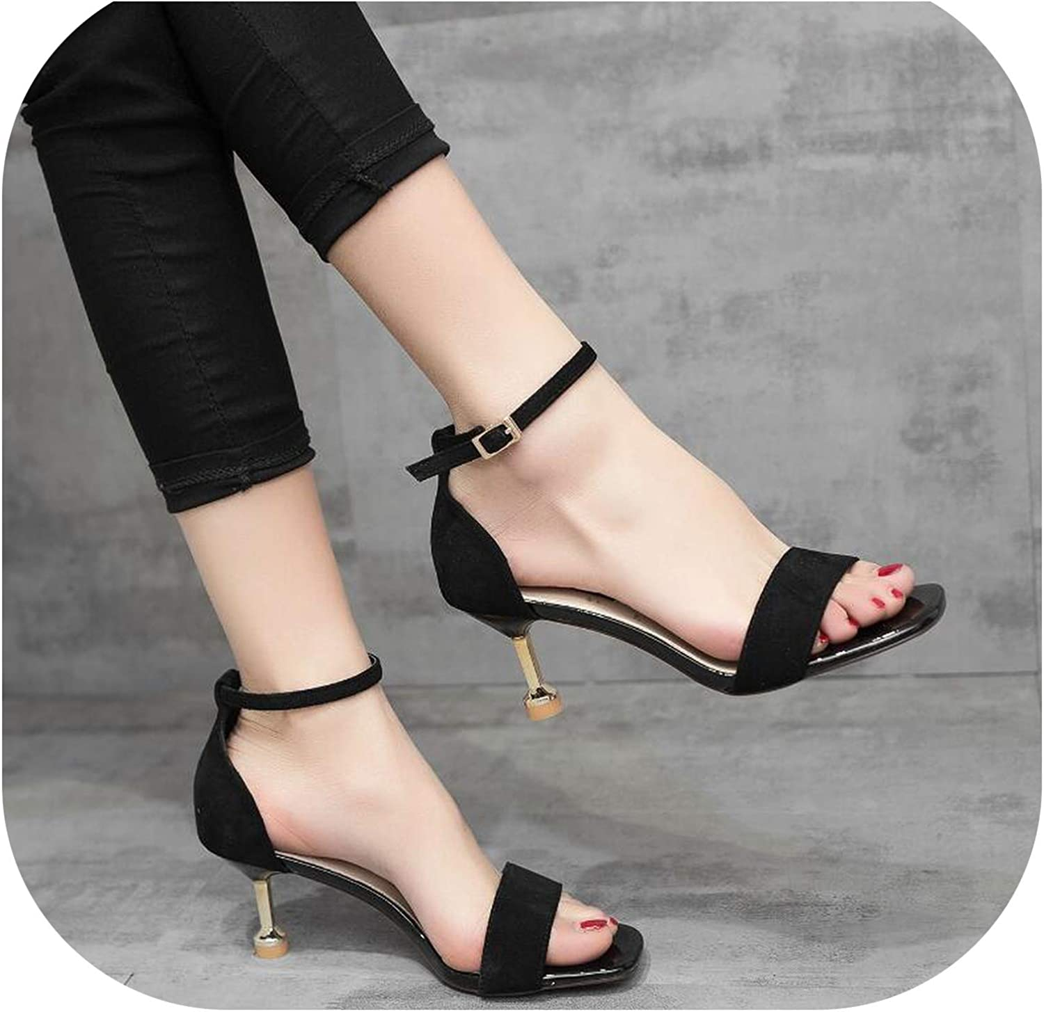 Meiguiyuan 2019 high Square Cover Heels Ankle Buckle Strap Concise Casual Fish Mouth Summer Women Sandals