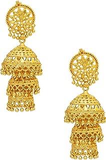 24K Gold Plated Triple Layered Chandelier Jhumkas for Women (SJ_1107)
