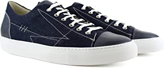 Men's Sneakers Small and Large Numbers Sporty Canvas Jeans with Blue Leather Trim
