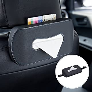 Mr.Ho Black Leather Car Back Seat Headrest Hanging Tissue Holder Case Mount, Multi-use Car Tissue Paper Holder with One Ti...