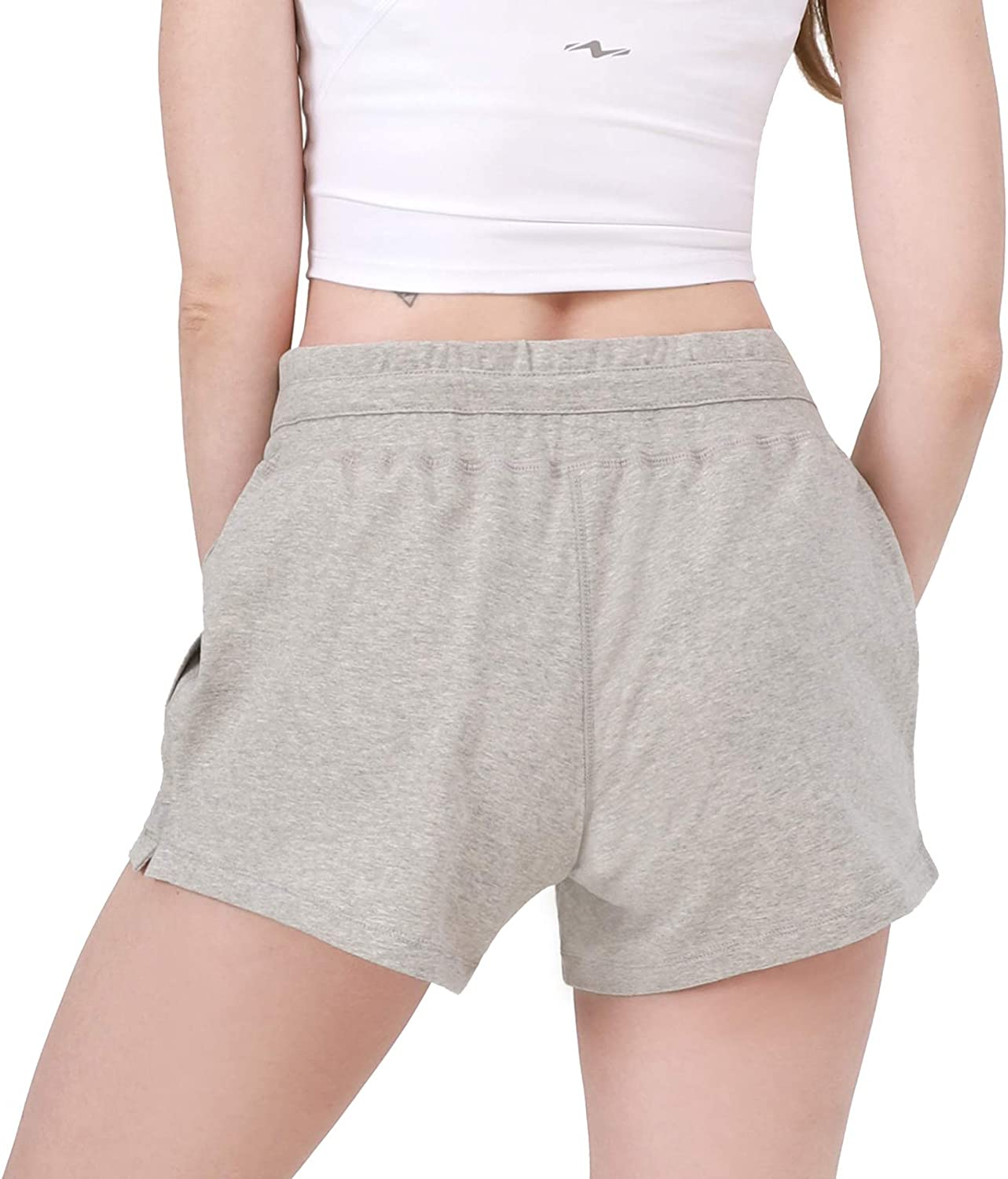 Nomolen Womens 3 Workout Lounge Shorts Cotton Yoga Gym Athletic Running Activewear Sweat Shorts with Pockets
