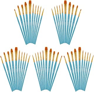 Artecho Paint Brushes Set, 5 Packs/50 pcs Art Brushes for All Levels and Purpose Watercolor Oil Acrylic Gouache Painting, ...