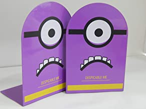 Funk Frontier Artistic Despicable Me Metal Bookends Pair,Book Stopper for Home/Office Décor (10 x 14 x 18 cm) - Purple