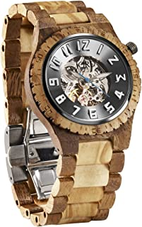 JORD Wooden Watches for Men - Dover Series Skeleton Automatic/Wood Watch Band/Wood Bezel/Self Winding Movement - Includes Wood Watch Box