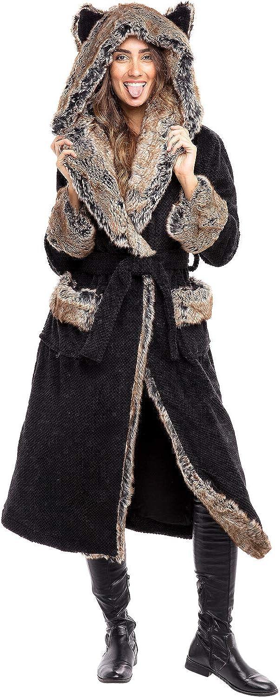 Alexander Del Rossa Women?s Long Faux Fur Trimmed Coat - Patch Pockets, Tie Belt Front, Animal Ear Hood