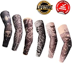 Arm Tattoo Sleeves 6PCS Temporary Fake Tattoo Arm Sleeves for Men Women Cover Up Sleeves UV Protection Body Art Stockings Protector Halloween Accessories Designs Tribal, Crown Heart,Dragon, Skull