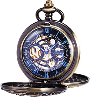 Mens Antique Skeleton Mechanical Pocket Watch Dragon Hollow Hunter with Chain and Gift Box