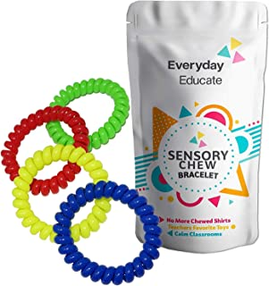 Everyday Educate Sensory Bracelet for Kids - Colorful Fidget Chew Jewelry for Boys and Girls with Sensory Processing Disorder, ADD, ADHD, Autism (4 Pack)