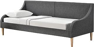 [en.casa]    Sofá cama Dormeuse 200 cm x 90 cm Tejido gris con patas de plástico imitación madera
